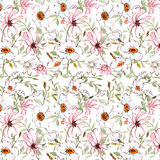 Watercolor seamless pattern honeysuckle and wild Stock Photos
