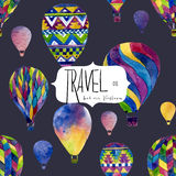 Watercolor seamless pattern with hot air balloon Stock Photography