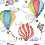 Watercolor seamless pattern with hot air balloons, kites and flag garlands. Hand painted sky illustration with aerostate