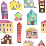 Watercolor seamless pattern with house Stock Images