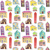 Watercolor seamless pattern with house Stock Photo