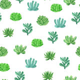 Watercolor seamless pattern house plants in pots. Cute seamless pattern with house plants in pots. Hand drawn floral pattern in cartoon style Stock Photography