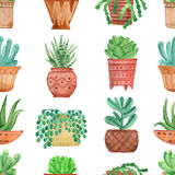 Watercolor seamless pattern house plants in pots Royalty Free Stock Photo