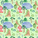 Watercolor seamless pattern with house. royalty free illustration