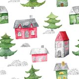 Watercolor seamless pattern with houses and trees. Festive winter decoration. Christmas background. Watercolor seamless pattern with houses and trees. Festive Royalty Free Stock Photo