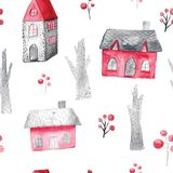 Watercolor seamless pattern with houses and trees. Festive winter decoration. Christmas background.  Royalty Free Stock Images