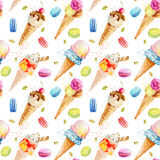 Watercolor seamless pattern with ice cream and macaroons. Stock Photo