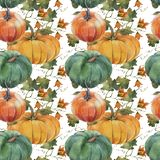 Watercolor seamless pattern illustration with pumpkins. vector illustration