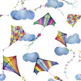 Watercolor seamless pattern with kites and clouds. Hand drawn vintage kite with retro design. Illustrations isolated on white back. Ground for kids design Stock Illustration
