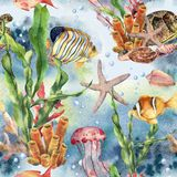 Watercolor seamless pattern with laminaria branch, coral reef and sea animals. Hand painted jellyfish, starfish