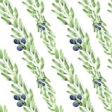 Watercolor seamless pattern leaves, berries and branches stock illustration