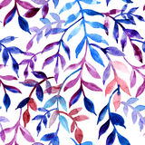 Watercolor seamless pattern leaves and branch. Stock Images