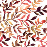 Watercolor seamless pattern leaves and branch. Royalty Free Stock Photo