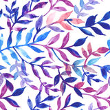 Watercolor seamless pattern leaves and branch. Royalty Free Stock Photos