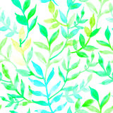 Watercolor seamless pattern leaves and branch. Royalty Free Stock Photography