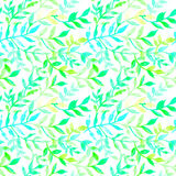 Watercolor seamless pattern leaves and branch. Stock Photo