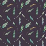 Watercolor seamless pattern of leaves vector illustration