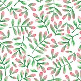 Watercolor seamless pattern of leaves in red and green colors. royalty free stock images
