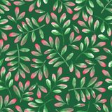 Watercolor seamless pattern of leaves in red and green colors. royalty free stock photo