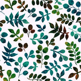 Watercolor seamless pattern on leaves theme, Autumn seamless pat Stock Photography
