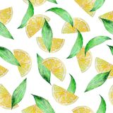 Watercolor seamless pattern lemon slices with leaves stock illustration