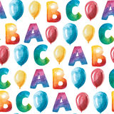 Watercolor seamless pattern of letter A, B, C and baloon. Royalty Free Stock Images