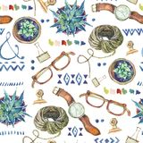 Watercolor seamless pattern of lifestyle objects. Succulents, ornaments, glasses, wristwatch, rope on white background. Inspiration floral design collection Royalty Free Stock Photos