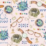 Watercolor seamless pattern of lifestyle objects. Succulents, ornaments, glasses, wristwatch, rope on pink background. Inspiration floral design collection Stock Image