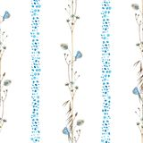 Watercolor seamless pattern with lined in a vertical chain of wildflowers with butterflies and blue abstract spots. Vintage royalty free illustration