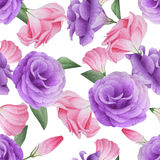 Watercolor seamless pattern with lisianthus Stock Images