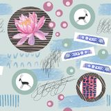 Watercolor abstract seamless pattern lotus flowers and geometric figure. Watercolor seamless pattern lotus flowers and yoga with geometric figure on blue Royalty Free Stock Photo