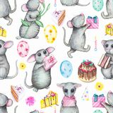 Watercolor seamless pattern with mice, gifts, balloons, cake and. Seamless background pattern with cute mice, gifts, balloons, cake, candles and flowers Stock Photo