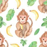 Watercolor seamless pattern with monkey and bananas. Texture for wallpaper, packaging, scrapbooking, fabrics, clothing, textiles stock illustration