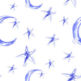 Watercolor seamless pattern with moon and star. Vector Royalty Free Stock Photo