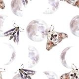 Watercolor seamless pattern with moths and moon phases. Dark mystical colors. Lilac and brown vector illustration