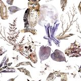 Watercolor seamless pattern with moths, owls, crystals, moon and flowers. Dark mystical colors. Lilac and brown royalty free illustration