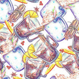 Watercolor seamless pattern. Mug of cocoa Stock Images