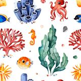 Watercolor seamless pattern with multicolored corals,seashells,seaweeds and fish,seahorse stock photo