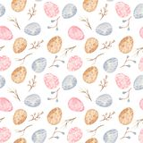 Watercolor seamless pattern with multicolored easter eggs and willow. stock illustration