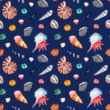 Watercolor seamless pattern with multicolored seashells.Dark background stock photography