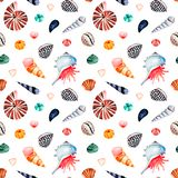 Watercolor seamless pattern with multicolored seashells royalty free stock image