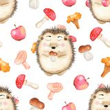 Watercolor seamless pattern with mushrooms, cute cartoon hedgehog and apples. royalty free illustration
