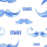 Watercolor seamless pattern with a mustache. Vector Stock Illustration