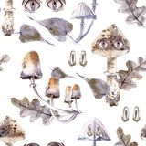 Watercolor seamless pattern with mystical mushrooms with eyes. Magic forest pattern royalty free illustration
