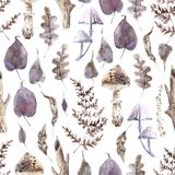 Watercolor seamless pattern with mystical mushrooms and forest leaves. Lilac and brown colors vector illustration