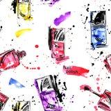 Watercolor seamless pattern with nail polish. Fashion illustrati Royalty Free Illustration