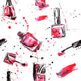Watercolor seamless pattern with nail polish. Fashion illustration Stock Image