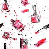 Watercolor seamless pattern with nail polish. Fashion illustration Royalty Free Illustration