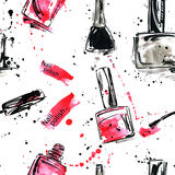 Watercolor seamless pattern with nail polish. Royalty Free Stock Photography