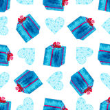 Watercolor seamless pattern. New Year wrapping paper with gift box.  Stock Images